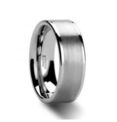 AIRES Flat Brush Finish Center Polished Edges Tungsten Carbide Ring - 4mm - 10mm