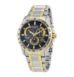 Perpetual Chrono A-T Men's Bracelet Black Dial Water Resistant Eco Drive Watch by Citizen