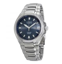 Titanium Men's Bracelet Blue Dial Water Resistant Eco Drive Watch by Citizen