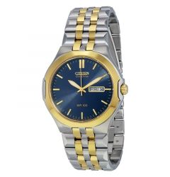 Corso Men's Bracelet Blue Dial Water Resistant Eco Drive Watch by Citizen