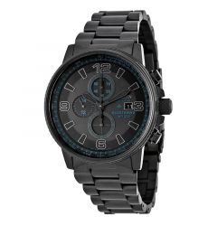 Nighthawk Men's Bracelet Black Dial Water Resistant Eco Drive Watch by Citizen