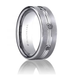 LAS VEGAS Black Diamond Tungsten Carbide Ring by Benchmark - 7 mm