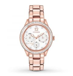 Silhouette Crystal Ladies' Bracelet White Dial Water Resistant Eco Drive Watch by Citizen