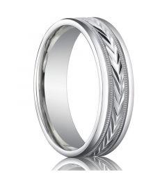 Polished Palladium Wedding Band with Arrow Pattern Milgrain Center - 6mm