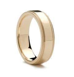14k Yellow Gold Wedding Band Flat Polished Milgrain Edges