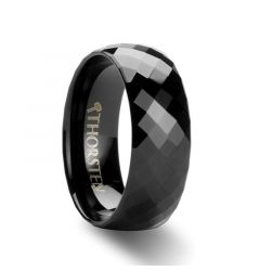 AEON 288 Diamond Faceted Black Tungsten Carbide Band - 4mm - 8mm