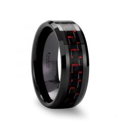 ANTONIUS Beveled Black Ceramic Ring with Black & Red Carbon Fiber - 4mm - 10mm