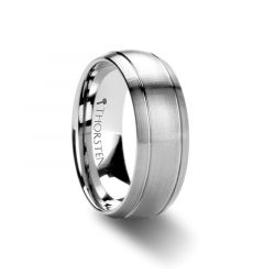 MAGNUS Domed Brush Finished Tungsten Carbide Ring with Dual Grooves - 6mm & 8mm