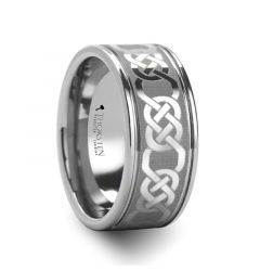 PALATINE Laser Engraved Tungsten Ring with Celtic Pattern - 6mm - 10mm
