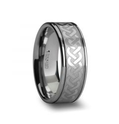 PALLAS Laser Engraved Tungsten Ring with Celtic Knot - 8mm - 10mm
