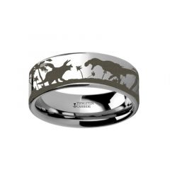 Prehistoric Dinosaur Jurassic Themed Portrait Ring Engraved Flat Tungsten Ring - 4mm - 12mm