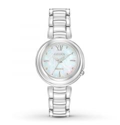 Stainless Steel Women's Bracelet White Mother of Pearl Dial Sapphire Crystal Water Resistant Watch by Citizen