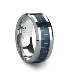 AUXILIUS Tungsten Carbide Ring with Black & Blue Carbon Fiber Inlay - 10 mm