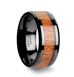 BENIN Black Ceramic Wedding Band with Polished Bevels and African Sapele Wood Inlay - 10mm