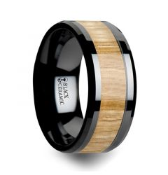 BILTMORE Black Ceramic Ring with Polished Bevels and Ash Wood Inlay - 10mm