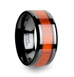 BOSULU Black Ceramic Ring with Polished Bevels and Padauk Real Wood Inlay - 10mm