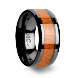 IOWA Black Ceramic Wedding Ring with Polished Bevels and Black Cherry Wood Inlay - 10mm