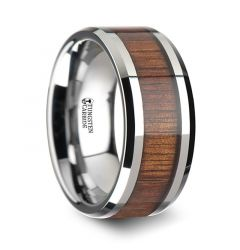 KONA Koa Wood Inlaid Tungsten Carbide Ring with Bevels - 10mm