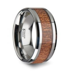 CONGO Tungsten Wedding Band with Polished Bevels and African Sapele Wood Inlay - 10 mm