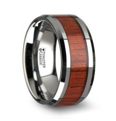 NARRA Tungsten Wood Inlay Ring with Polished Bevels and Real Padauk Wood Inlay - 6mm - 10mm
