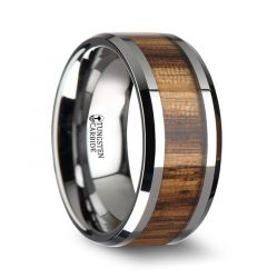 PALMALETTO Tungsten Carbide Ring with Beveled Edges and Real Zebra Wood Inlay - 10mm
