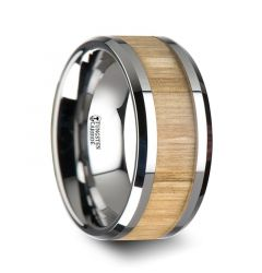 SAMARA Tungsten Ring with Polished Bevels and Ash Wood Inlay - 10 mm