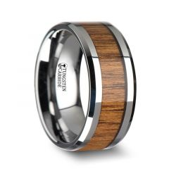 TEKKU Wood Tungsten Ring with Polished Bevels and Teak Wood Inlay - 10 mm