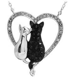 """Sterling Silver 1/5 CTW Black & White Diamond Cats Heart 18"""" Necklace"""