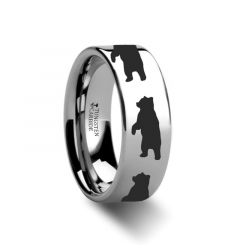 Animal Standing Bear Ring Engraved Flat Tungsten Ring - 4mm - 12mm