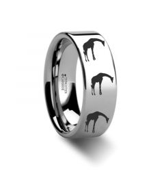 Animal Giraffe Print Ring Engraved Flat Tungsten Ring - 4mm - 12mm