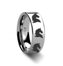 Animal Horse Print Ring Engraved Flat Tungsten Ring - 4mm - 12mm