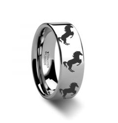 Animal Horse Hind Legs Print Ring Engraved Flat Tungsten Ring - 4mm - 12mm