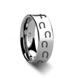 Animal Horse Shoe Print Ring Engraved Flat Tungsten Ring - 4mm - 12mm