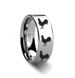 Animal Rooster Print Ring Engraved Flat Tungsten Ring - 4mm - 12mm