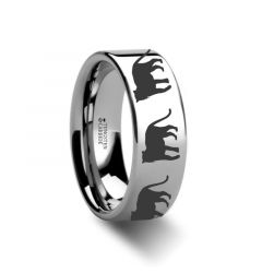 Animal Tiger Print Ring Engraved Flat Tungsten Ring - 4mm - 12mm