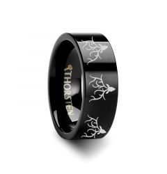 Animal Reindeer Deer Stag head Print Ring Engraved Flat Black Tungsten Ring - 4mm - 12mm