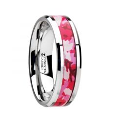 TANGO Tungsten Wedding Ring with Pink and White Camouflage Inlay - 6mm & 8mm