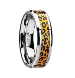SAVANNAH Tungsten Wedding Ring with Cheetah Print Animal Design Inlay - 6mm - 8mm