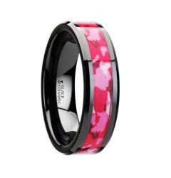 SIERRA Black Ceramic Ring with Pink and White Camouflage Inlay - 6mm & 8mm