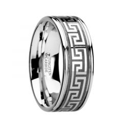 THASOS Grooved Tungsten Carbide Wedding Band with Greek Key Meander Design - 8mm
