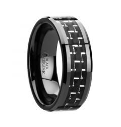 TITAN Black Beveled Ceramic Ring with Silver & Black Carbon Fiber Inlay - 8mm