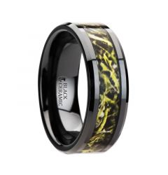 EVERGLADE Black Ceramic Wedding Band with Green Marsh Camo Inlay Ring - 8mm