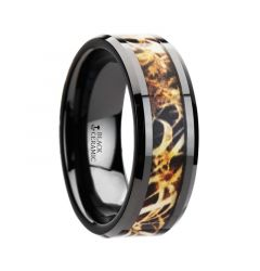 TUNDRA Black Ceramic Wedding Band with Leaves Grassland Camo Inlay Ring - 8mm
