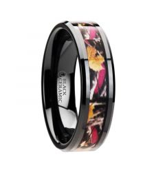 LAUREL Realistc Tree Camo Black Ceramic Wedding Band with Real Pink Oak Leaves - 6mm - 8mm