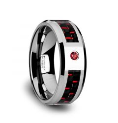 ADRIAN Tungsten Carbide Ring with Black and Red Carbon Fiber and Red Ruby Setting with Bevels - 8mm