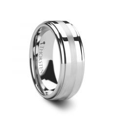 ODIN Platinum Inlaid Raised Center Tungsten Ring 6mm & 8mm