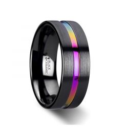 AZURE Flat Black Ceramic Ring Brushed with Rainbow Groove - 4mm - 8mm
