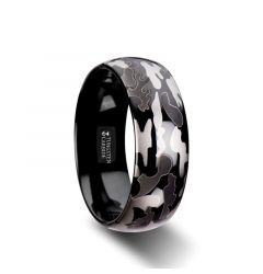 ADMIRAL Domed Black Tungsten Carbide Ring with Black and Gray Camo Pattern - 8mm