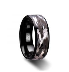 CONQUEST Beveled Black Tungsten Carbide Ring with Black and Gray Camo Pattern - 8mm