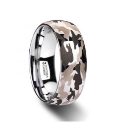 BATTALION Domed Tungsten Carbide Ring with Laser Engraved Camo Pattern - 6mm - 10mm